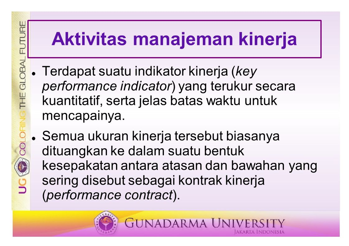 Aktivitas manajeman kinerja Terdapat suatu indikator kinerja (key performance indicator) yang terukur secara kuantitatif, serta jelas batas waktu untu