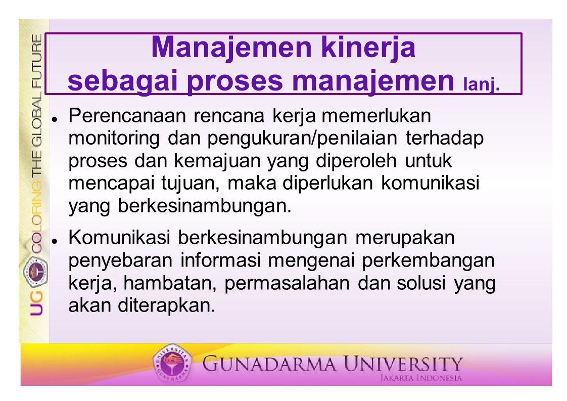 Manajemen kinerja sebagai proses manajemen lanj. Perencanaan rencana kerja memerlukan monitoring dan pengukuran/penilaian terhadap proses dan kemajuan