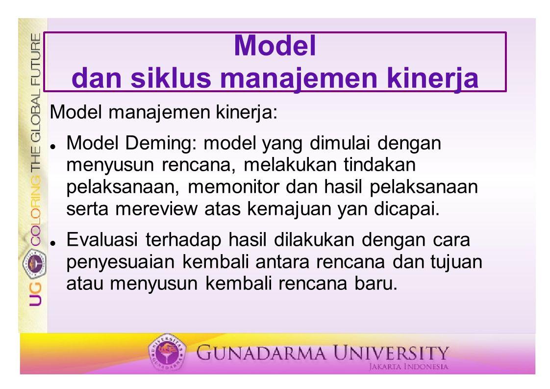 Model dan siklus manajemen kinerja Model manajemen kinerja: Model Deming: model yang dimulai dengan menyusun rencana, melakukan tindakan pelaksanaan,