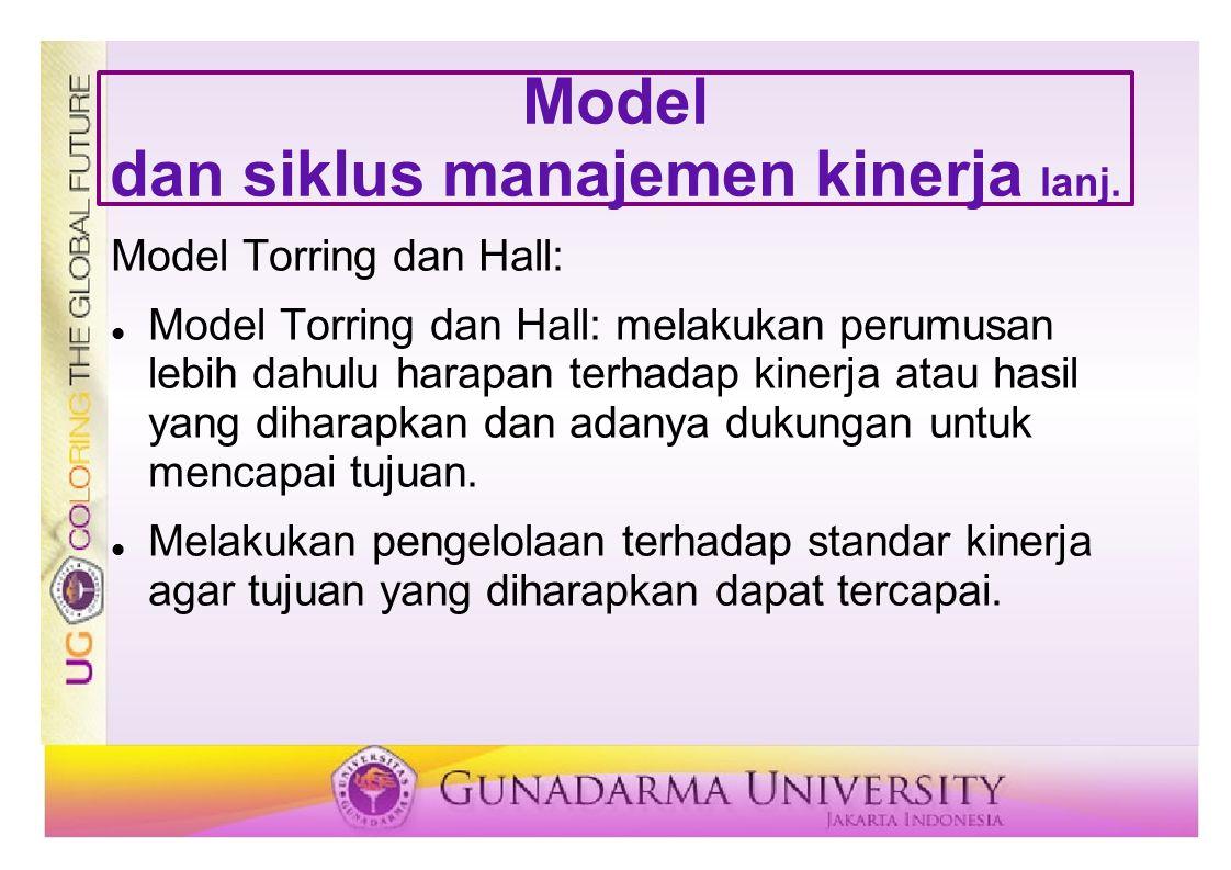 Model dan siklus manajemen kinerja lanj. Model Torring dan Hall: Model Torring dan Hall: melakukan perumusan lebih dahulu harapan terhadap kinerja ata