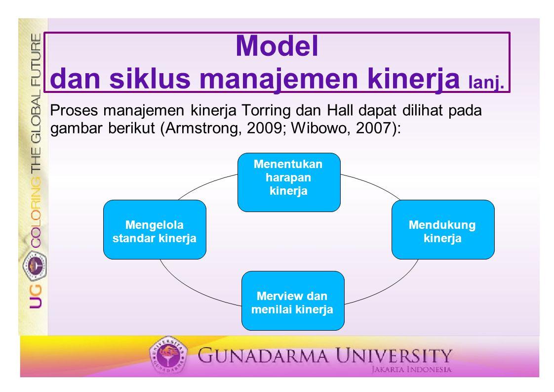 Model dan siklus manajemen kinerja lanj. Proses manajemen kinerja Torring dan Hall dapat dilihat pada gambar berikut (Armstrong, 2009; Wibowo, 2007):