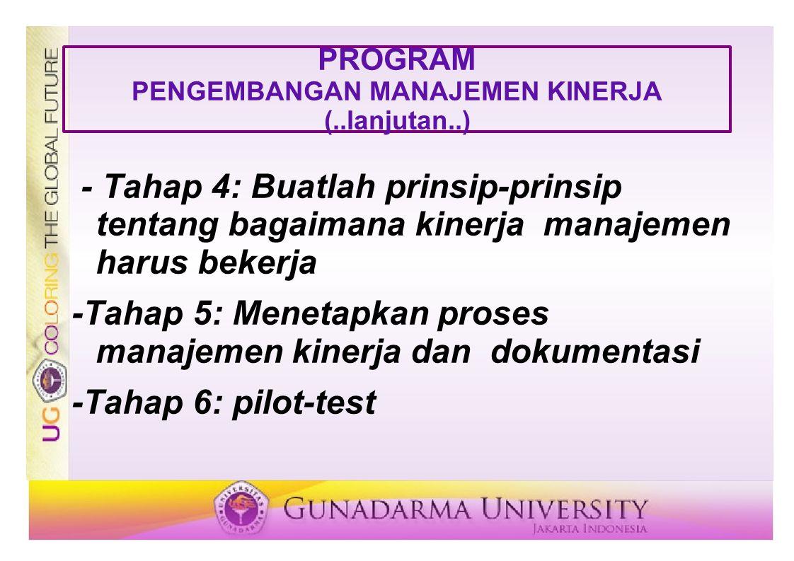 PROGRAM PENGEMBANGAN MANAJEMEN KINERJA (..lanjutan..) - Tahap 4: Buatlah prinsip-prinsip tentang bagaimana kinerja manajemen harus bekerja -Tahap 5: M