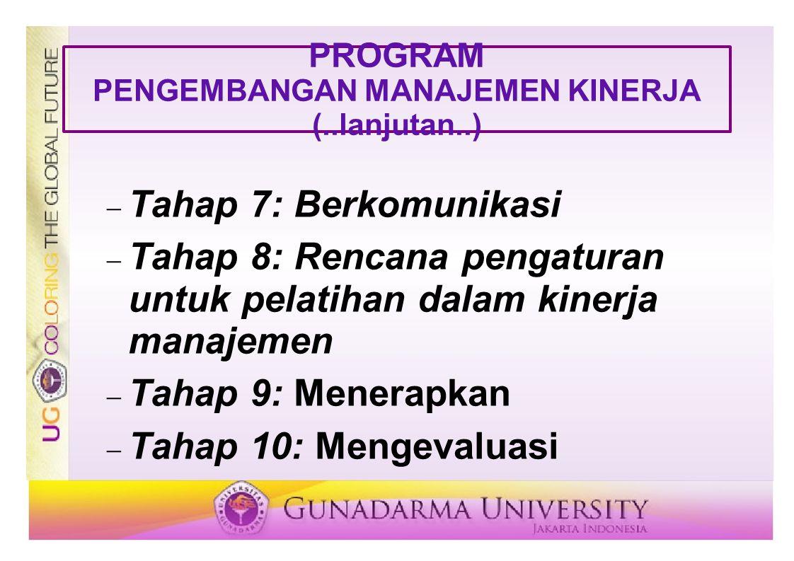 PROGRAM PENGEMBANGAN MANAJEMEN KINERJA (..lanjutan..)  Tahap 7: Berkomunikasi  Tahap 8: Rencana pengaturan untuk pelatihan dalam kinerja manajemen 
