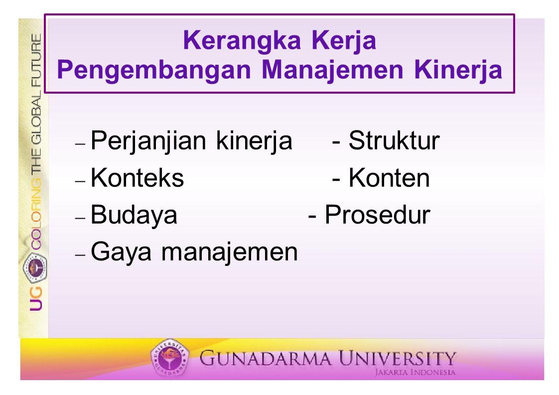 Kerangka Kerja Pengembangan Manajemen Kinerja  Perjanjian kinerja - Struktur  Konteks - Konten  Budaya - Prosedur  Gaya manajemen