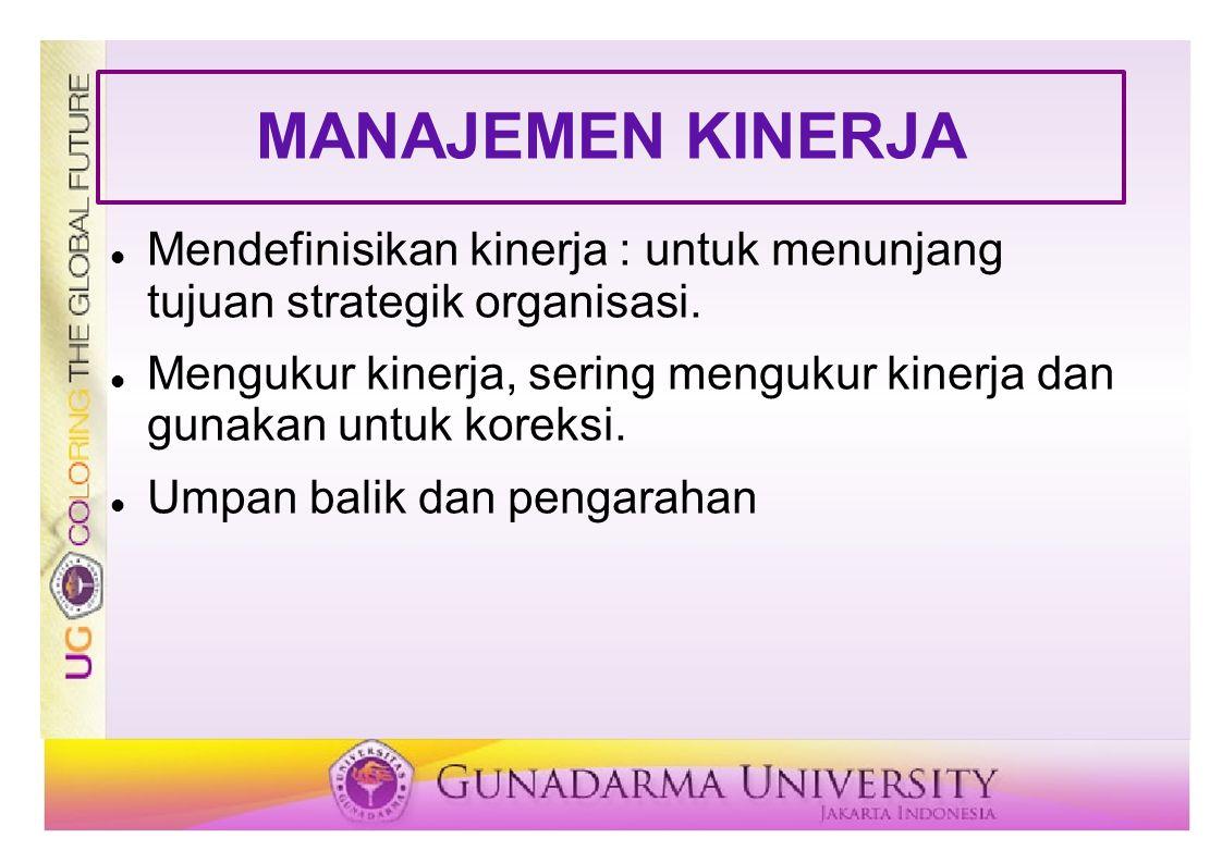 MANAJEMEN KINERJA Mendefinisikan kinerja : untuk menunjang tujuan strategik organisasi. Mengukur kinerja, sering mengukur kinerja dan gunakan untuk ko