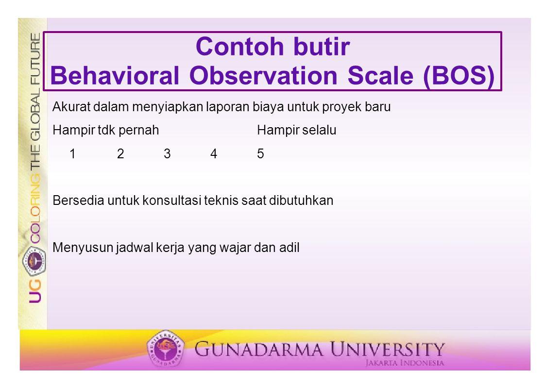 Contoh butir Behavioral Observation Scale (BOS) Akurat dalam menyiapkan laporan biaya untuk proyek baru Hampir tdk pernahHampir selalu 12345 Bersedia