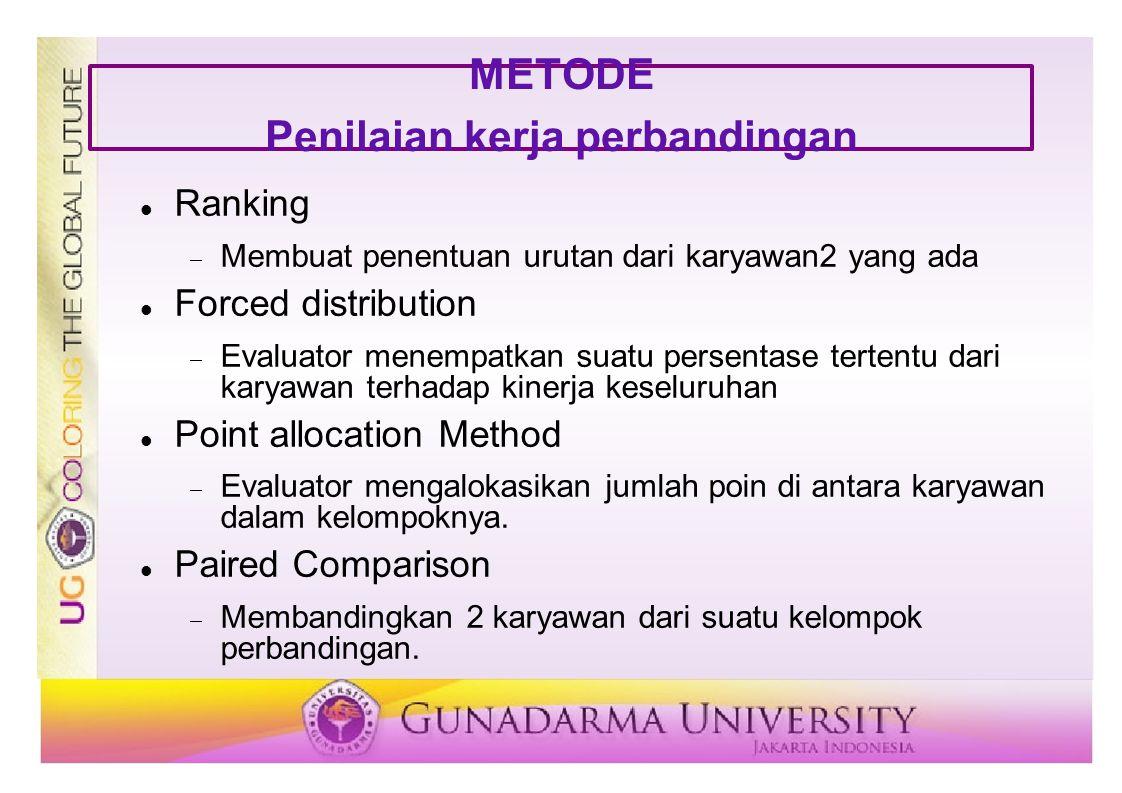 METODE Penilaian kerja perbandingan Ranking  Membuat penentuan urutan dari karyawan2 yang ada Forced distribution  Evaluator menempatkan suatu perse