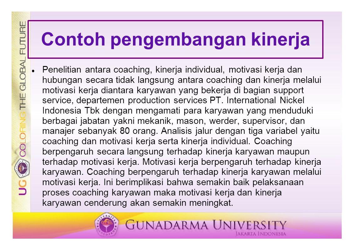 Contoh pengembangan kinerja Penelitian antara coaching, kinerja individual, motivasi kerja dan hubungan secara tidak langsung antara coaching dan kine