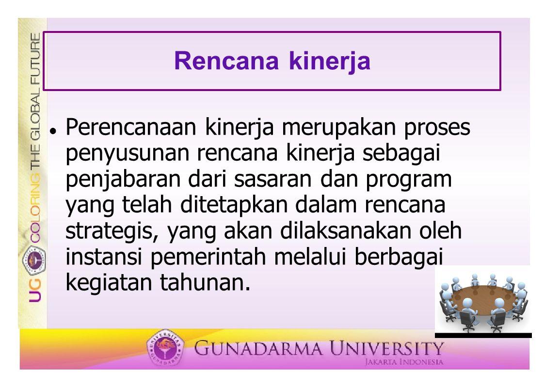 Rencana kinerja Perencanaan kinerja merupakan proses penyusunan rencana kinerja sebagai penjabaran dari sasaran dan program yang telah ditetapkan dala