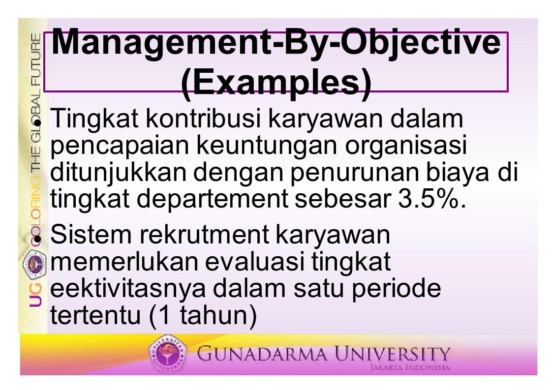 Management-By-Objective (Examples) Tingkat kontribusi karyawan dalam pencapaian keuntungan organisasi ditunjukkan dengan penurunan biaya di tingkat de