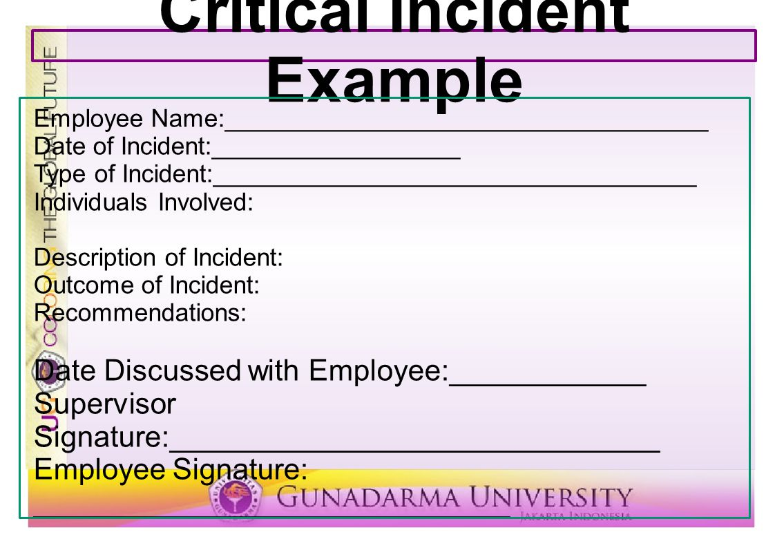Critical Incident Example Employee Name:___________________________________ Date of Incident:__________________ Type of Incident:_____________________