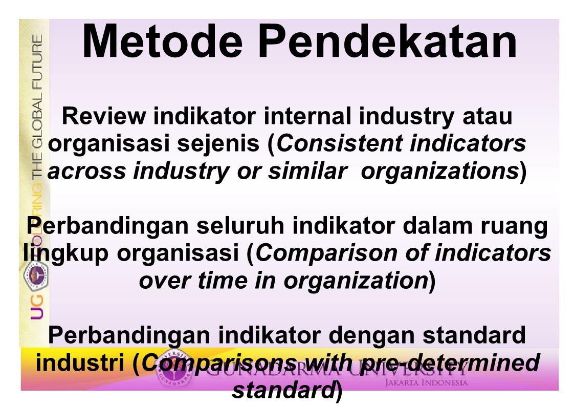 Metode Pendekatan Review indikator internal industry atau organisasi sejenis (Consistent indicators across industry or similar organizations) Perbandi