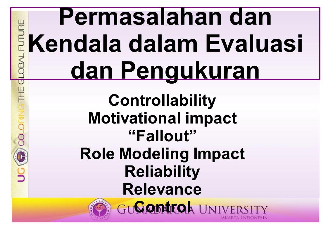 "Permasalahan dan Kendala dalam Evaluasi dan Pengukuran Controllability Motivational impact ""Fallout"" Role Modeling Impact Reliability Relevance Contro"