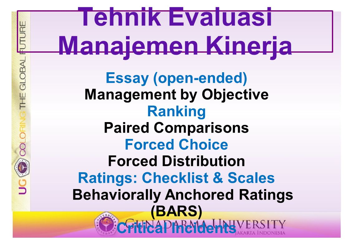 Tehnik Evaluasi Manajemen Kinerja Essay (open-ended) Management by Objective Ranking Paired Comparisons Forced Choice Forced Distribution Ratings: Che