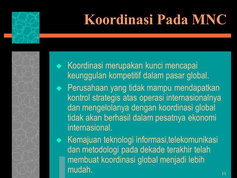 11 Koordinasi Pada MNC  Koordinasi merupakan kunci mencapai keunggulan kompetitif dalam pasar global.  Perusahaan yang tidak mampu mendapatkan kontr