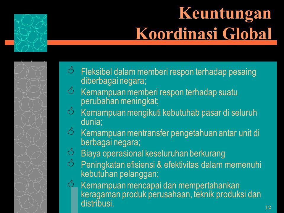 12 Keuntungan Koordinasi Global  Fleksibel dalam memberi respon terhadap pesaing diberbagai negara;  Kemampuan memberi respon terhadap suatu perubah
