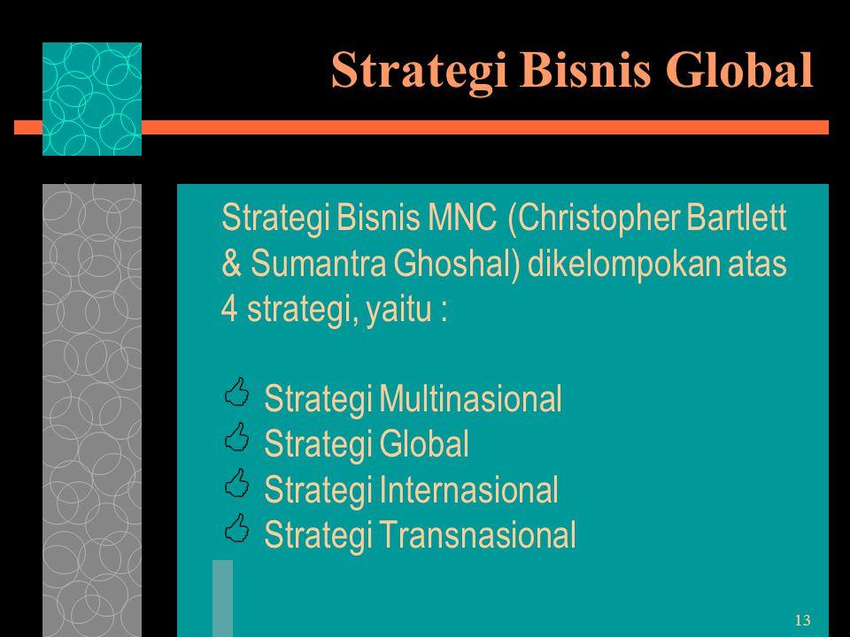 13 Strategi Bisnis Global Strategi Bisnis MNC (Christopher Bartlett & Sumantra Ghoshal) dikelompokan atas 4 strategi, yaitu :  Strategi Multinasional