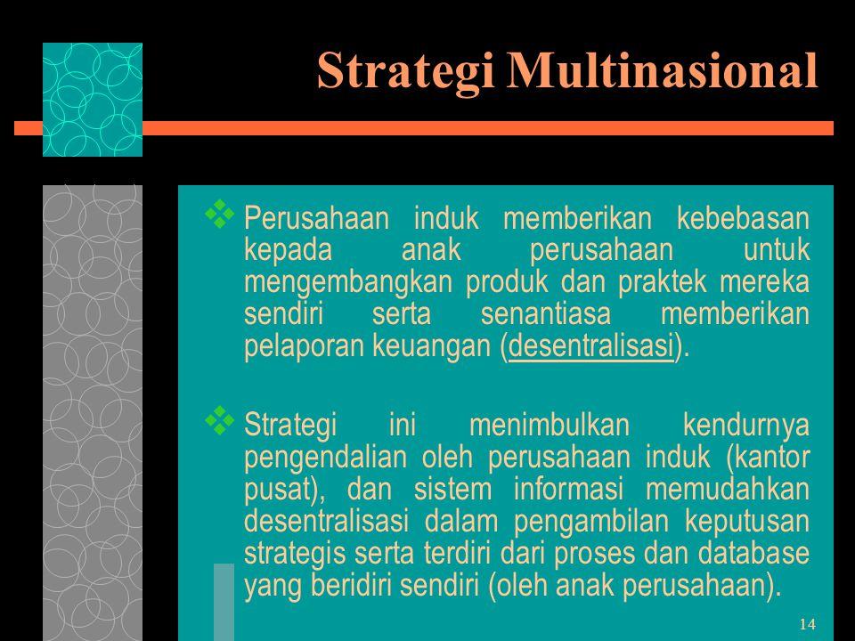14 Strategi Multinasional  Perusahaan induk memberikan kebebasan kepada anak perusahaan untuk mengembangkan produk dan praktek mereka sendiri serta s