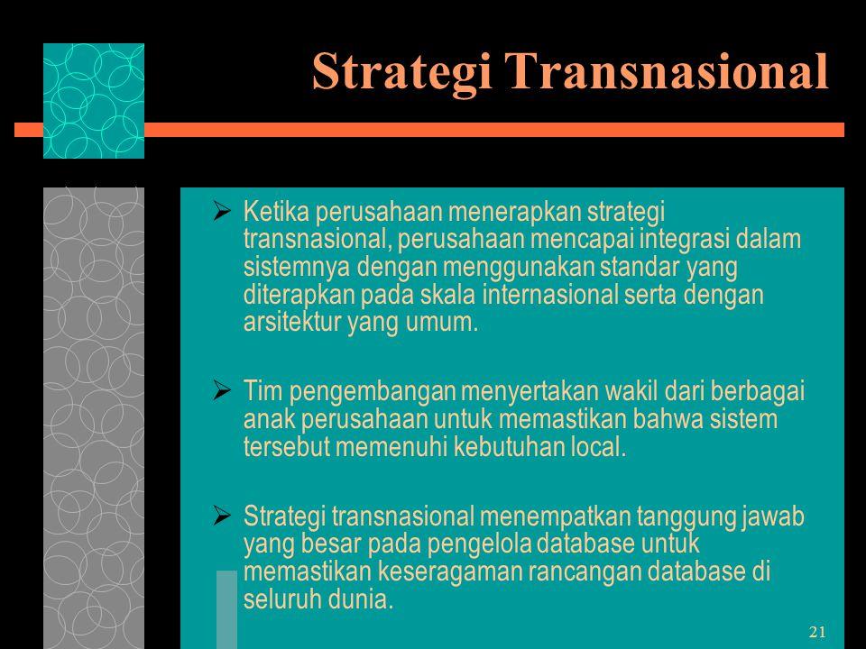 21 Strategi Transnasional  Ketika perusahaan menerapkan strategi transnasional, perusahaan mencapai integrasi dalam sistemnya dengan menggunakan stan