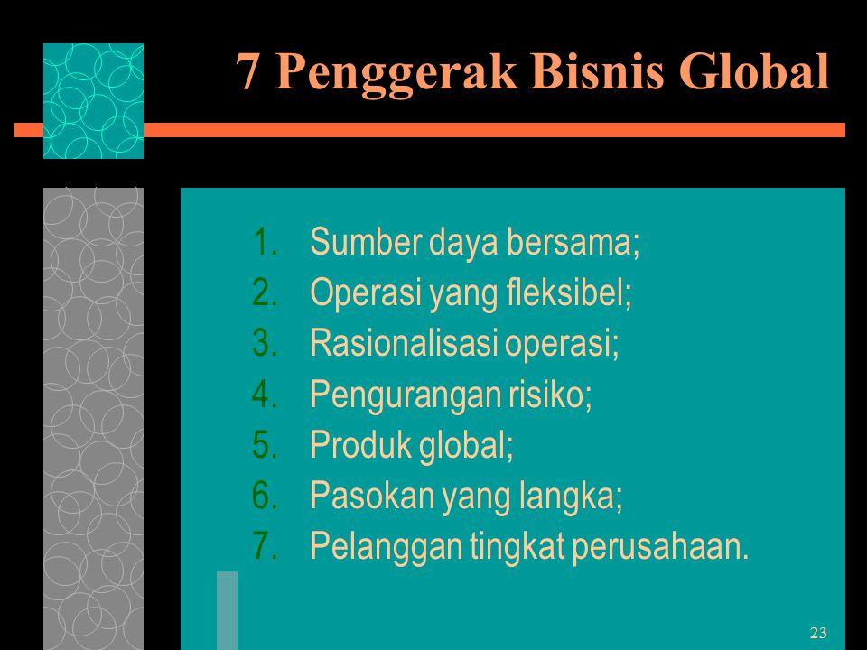 23 7 Penggerak Bisnis Global 1.Sumber daya bersama; 2.Operasi yang fleksibel; 3.Rasionalisasi operasi; 4.Pengurangan risiko; 5.Produk global; 6.Pasoka