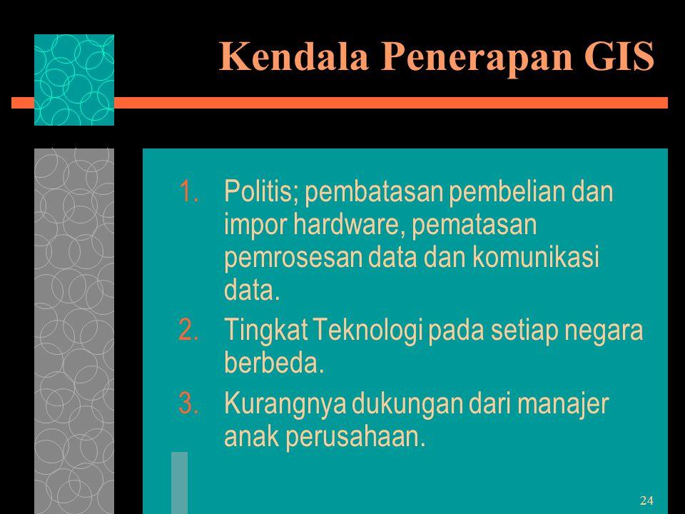 24 Kendala Penerapan GIS 1.Politis; pembatasan pembelian dan impor hardware, pematasan pemrosesan data dan komunikasi data. 2.Tingkat Teknologi pada s