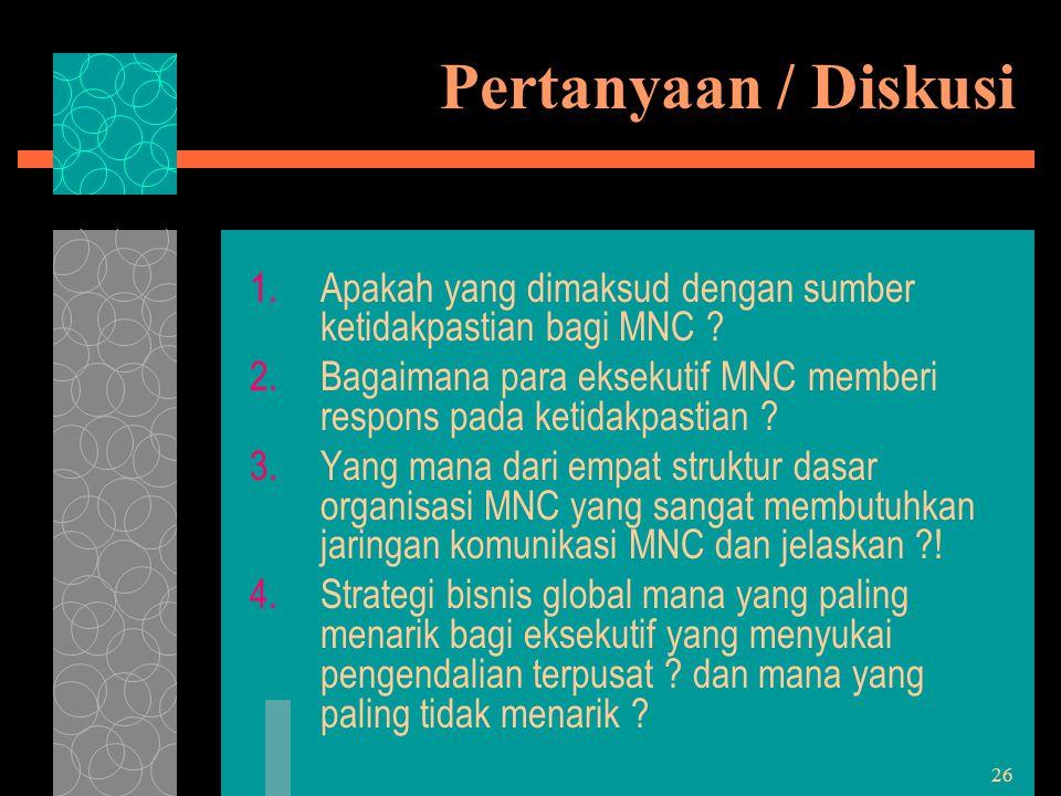 26 Pertanyaan / Diskusi 1.Apakah yang dimaksud dengan sumber ketidakpastian bagi MNC ? 2.Bagaimana para eksekutif MNC memberi respons pada ketidakpast