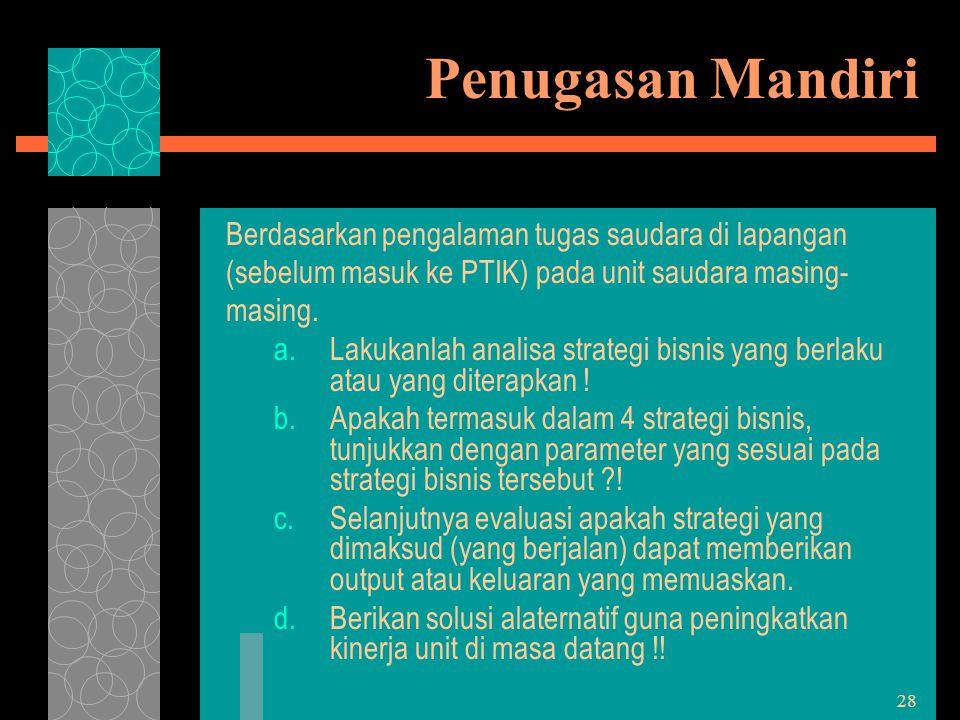 28 Penugasan Mandiri Berdasarkan pengalaman tugas saudara di lapangan (sebelum masuk ke PTIK) pada unit saudara masing- masing. a.Lakukanlah analisa s