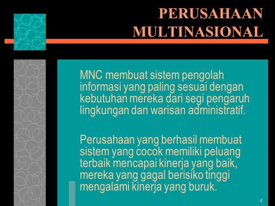 4 PERUSAHAAN MULTINASIONAL MNC membuat sistem pengolah informasi yang paling sesuai dengan kebutuhan mereka dari segi pengaruh lingkungan dan warisan