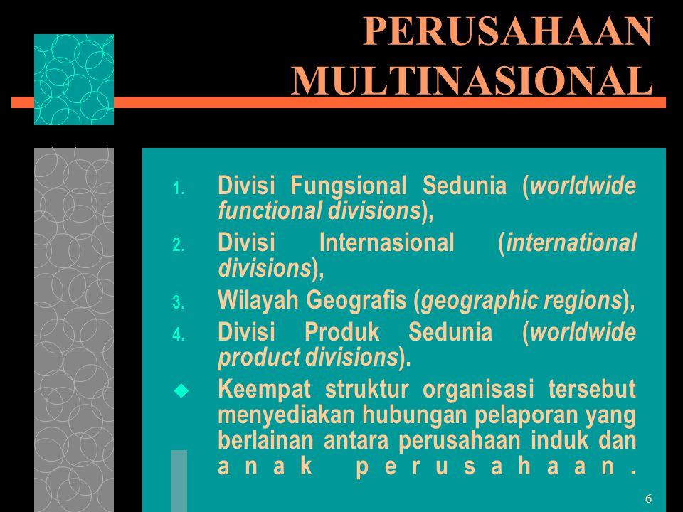 6 PERUSAHAAN MULTINASIONAL 1. Divisi Fungsional Sedunia ( worldwide functional divisions ), 2. Divisi Internasional ( international divisions ), 3. Wi
