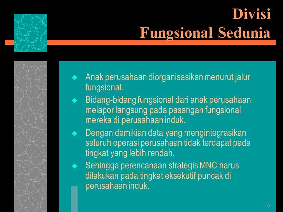 7 Divisi Fungsional Sedunia  Anak perusahaan diorganisasikan menurut jalur fungsional.  Bidang-bidang fungsional dari anak perusahaan melapor langsu