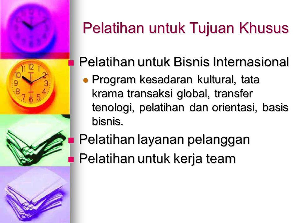 Pelatihan untuk Tujuan Khusus Pelatihan untuk Bisnis Internasional Pelatihan untuk Bisnis Internasional Program kesadaran kultural, tata krama transaksi global, transfer tenologi, pelatihan dan orientasi, basis bisnis.