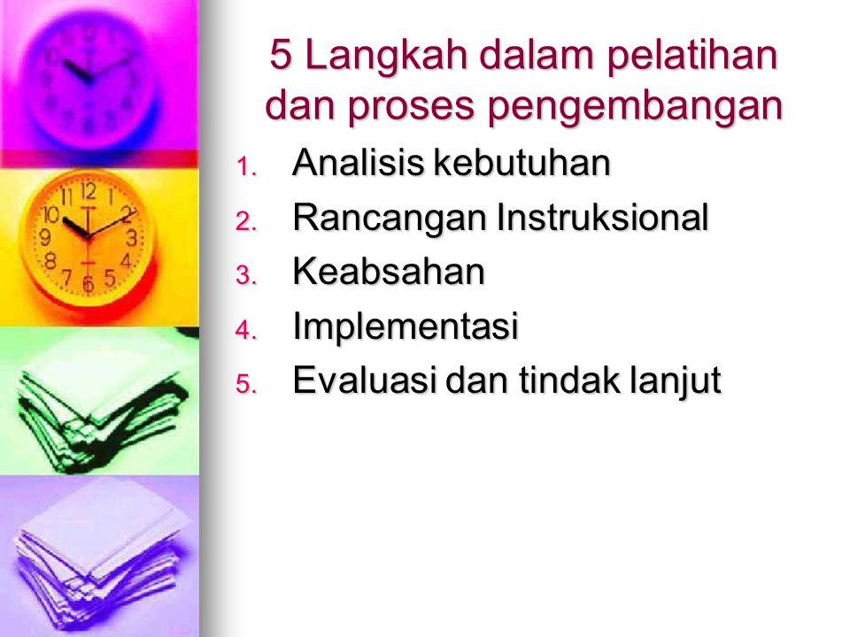 5 Langkah dalam pelatihan dan proses pengembangan 1.