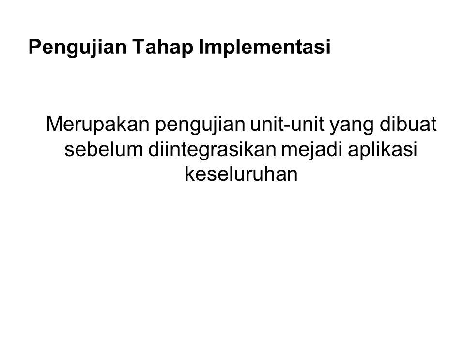 Pengujian Tahap Implementasi Merupakan pengujian unit-unit yang dibuat sebelum diintegrasikan mejadi aplikasi keseluruhan