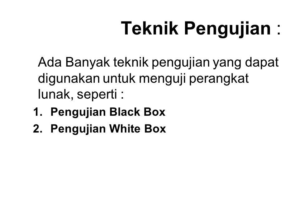 Teknik Pengujian : Ada Banyak teknik pengujian yang dapat digunakan untuk menguji perangkat lunak, seperti : 1.Pengujian Black Box 2.Pengujian White Box