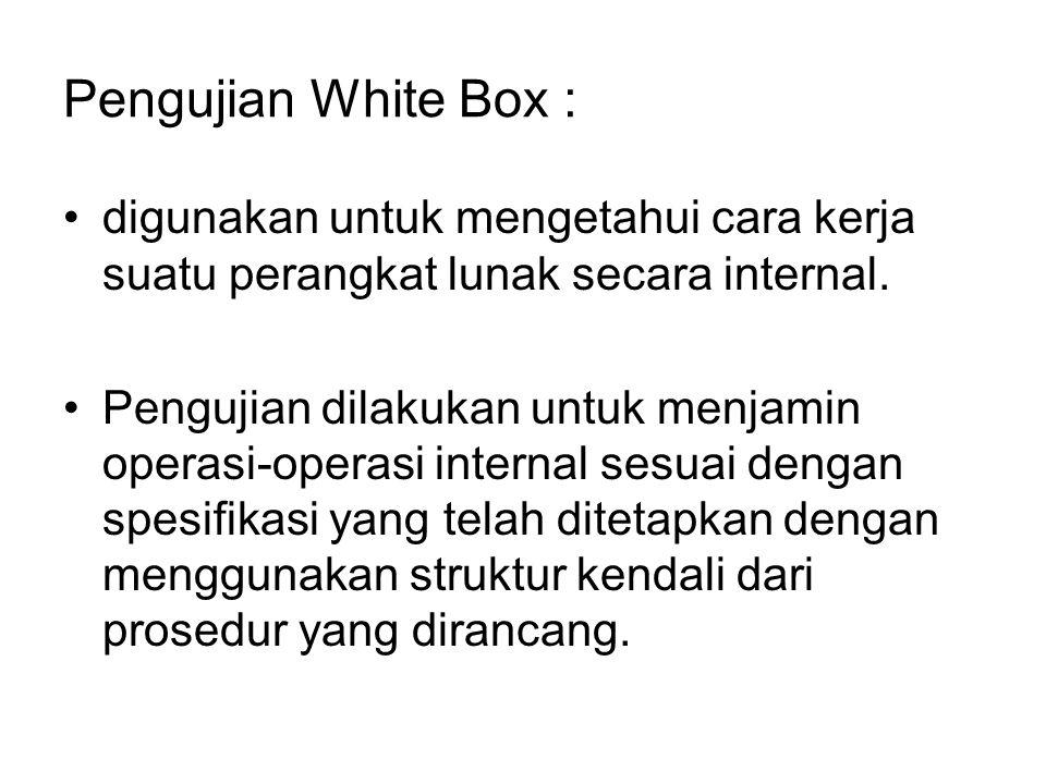 Pengujian White Box : digunakan untuk mengetahui cara kerja suatu perangkat lunak secara internal.