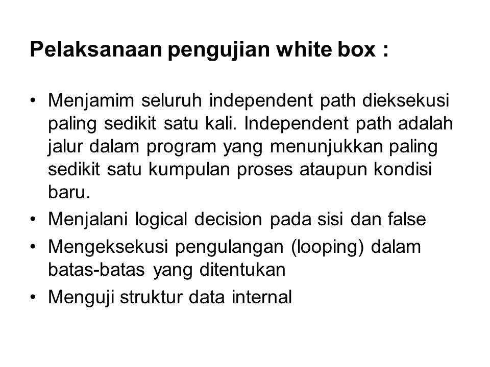 Pelaksanaan pengujian white box : Menjamim seluruh independent path dieksekusi paling sedikit satu kali.