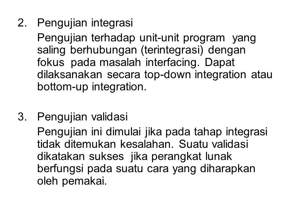 2.Pengujian integrasi Pengujian terhadap unit-unit program yang saling berhubungan (terintegrasi) dengan fokus pada masalah interfacing.