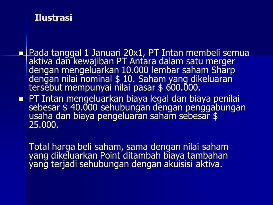 Ilustrasi Pada tanggal 1 Januari 20x1, PT Intan membeli semua aktiva dan kewajiban PT Antara dalam satu merger dengan mengeluarkan 10.000 lembar saham