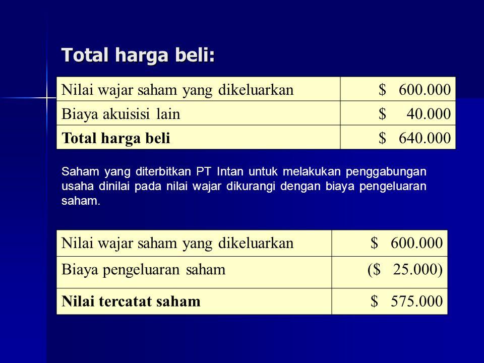 Total harga beli: Saham yang diterbitkan PT Intan untuk melakukan penggabungan usaha dinilai pada nilai wajar dikurangi dengan biaya pengeluaran saham