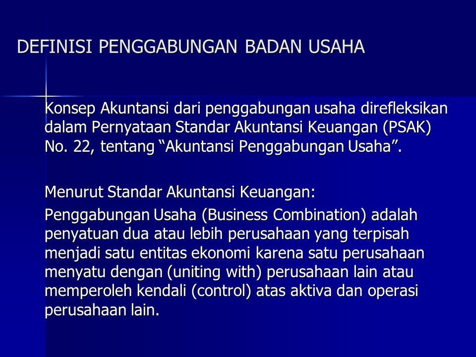 DEFINISI PENGGABUNGAN BADAN USAHA Konsep Akuntansi dari penggabungan usaha direfleksikan dalam Pernyataan Standar Akuntansi Keuangan (PSAK) No. 22, te