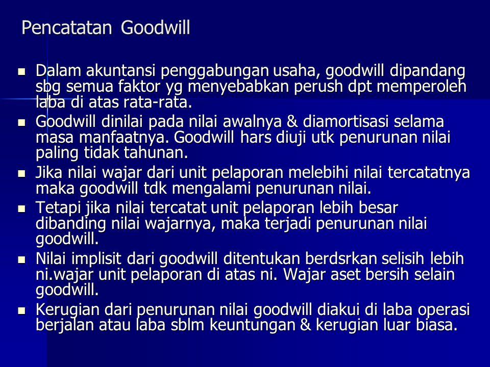 Pencatatan Goodwill Dalam akuntansi penggabungan usaha, goodwill dipandang sbg semua faktor yg menyebabkan perush dpt memperoleh laba di atas rata-rata.