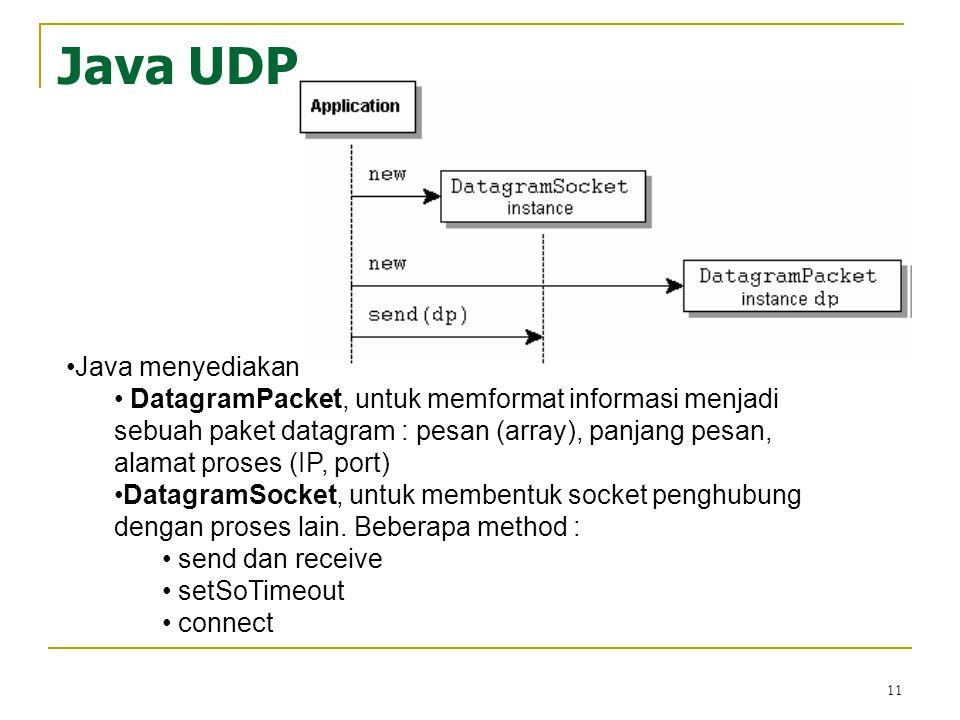 11 Java UDP Java menyediakan DatagramPacket, untuk memformat informasi menjadi sebuah paket datagram : pesan (array), panjang pesan, alamat proses (IP