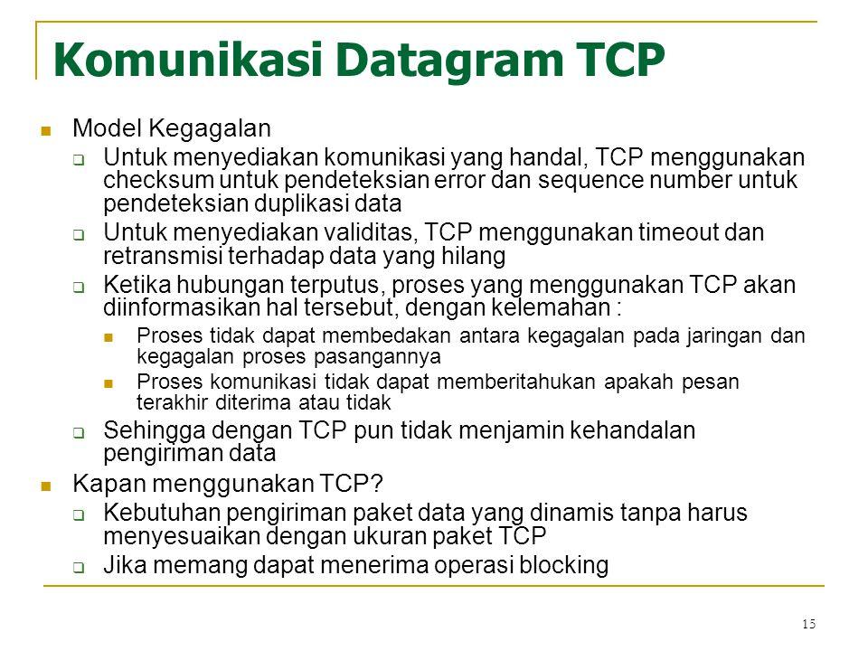 15 Komunikasi Datagram TCP Model Kegagalan  Untuk menyediakan komunikasi yang handal, TCP menggunakan checksum untuk pendeteksian error dan sequence