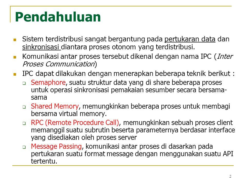 2 Pendahuluan Sistem terdistribusi sangat bergantung pada pertukaran data dan sinkronisasi diantara proses otonom yang terdistribusi. Komunikasi antar