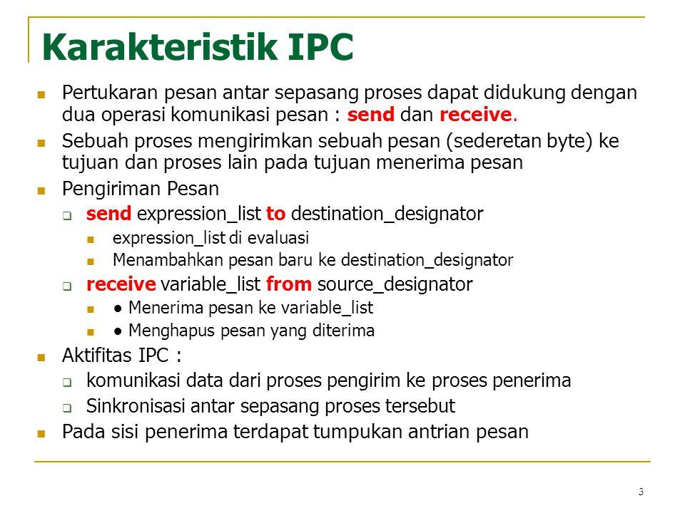 4 Karakteristik IPC Sinkronisasi  Diperlukan karena adanya perbedaan kecepatan eksekusi proses pada dua komputer yang berbeda  Diperlukan oleh suatu proses mempengaruhi komputasi di proses lainnya Komunikasi Synchronous, proses pengirim dan penerima melakukan sinkronisasi untuk tiap pesan yang dipertukarkan.