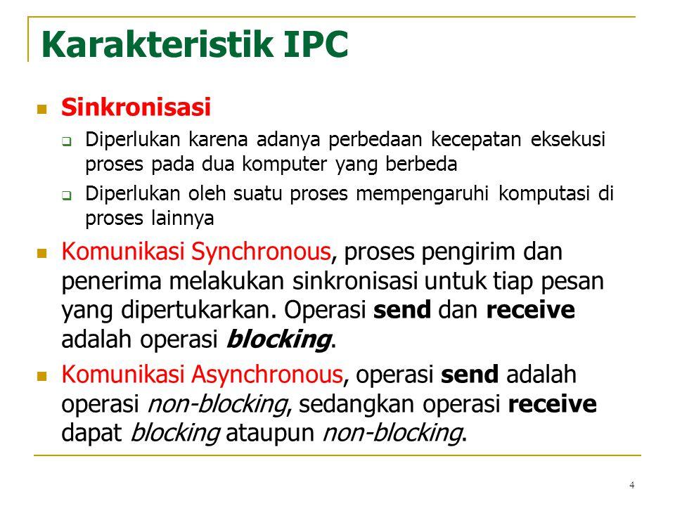 4 Karakteristik IPC Sinkronisasi  Diperlukan karena adanya perbedaan kecepatan eksekusi proses pada dua komputer yang berbeda  Diperlukan oleh suatu