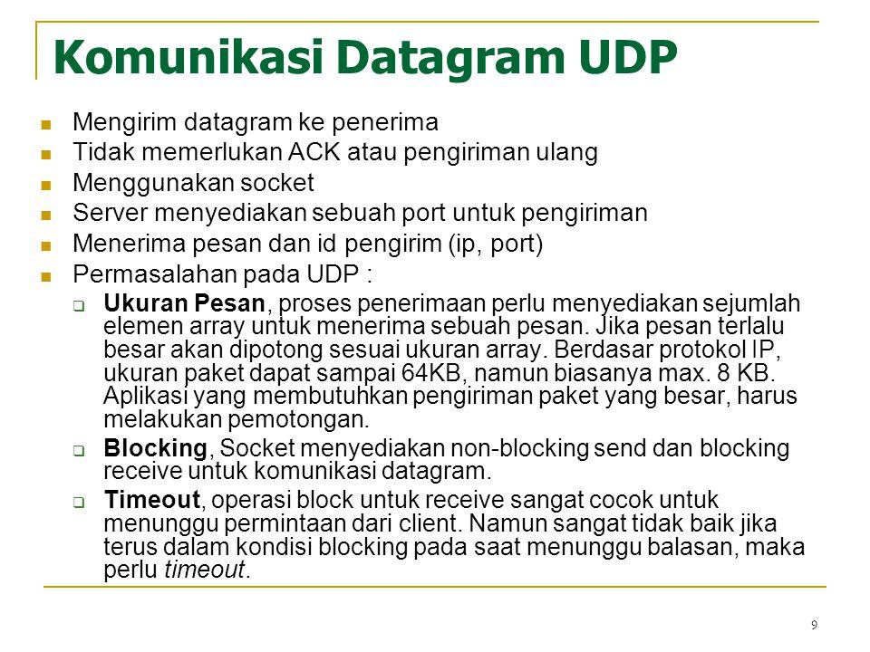 9 Komunikasi Datagram UDP Mengirim datagram ke penerima Tidak memerlukan ACK atau pengiriman ulang Menggunakan socket Server menyediakan sebuah port u