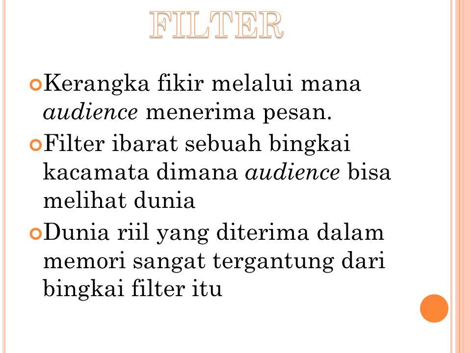 Kerangka fikir melalui mana audience menerima pesan. Filter ibarat sebuah bingkai kacamata dimana audience bisa melihat dunia Dunia riil yang diterima