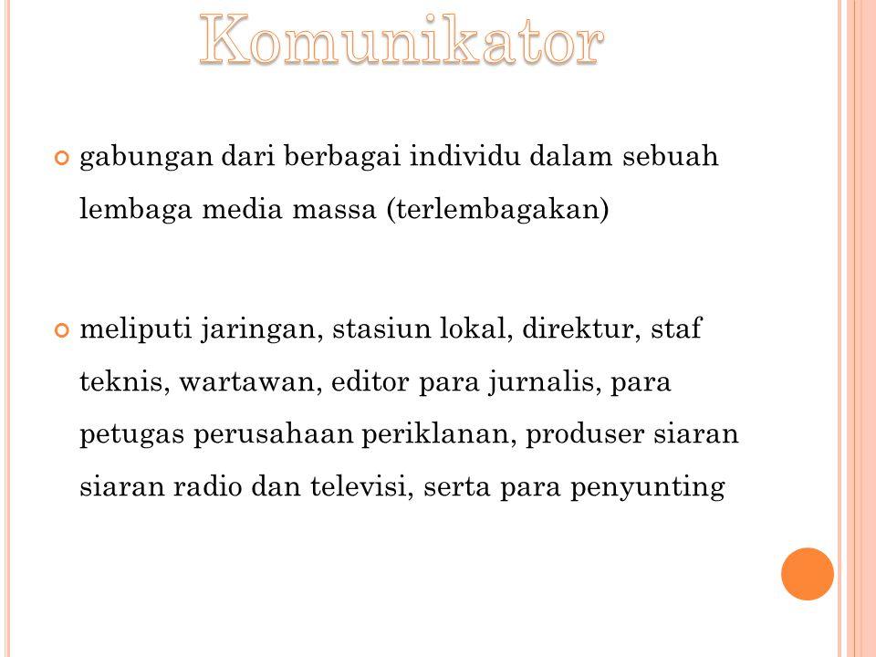gabungan dari berbagai individu dalam sebuah lembaga media massa (terlembagakan) meliputi jaringan, stasiun lokal, direktur, staf teknis, wartawan, ed