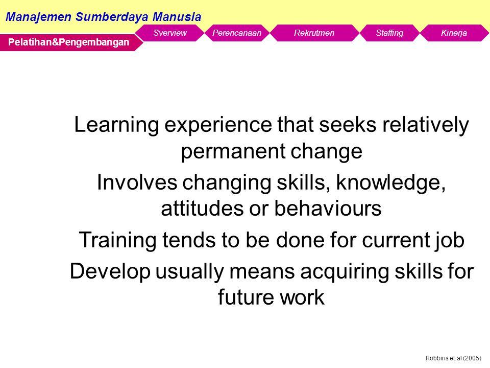 Manajemen Sumberdaya Manusia SverviewStaffingKinerjaRekrutmenPerencanaan Robbins et al (2005) Pelatihan&Pengembangan Learning experience that seeks re
